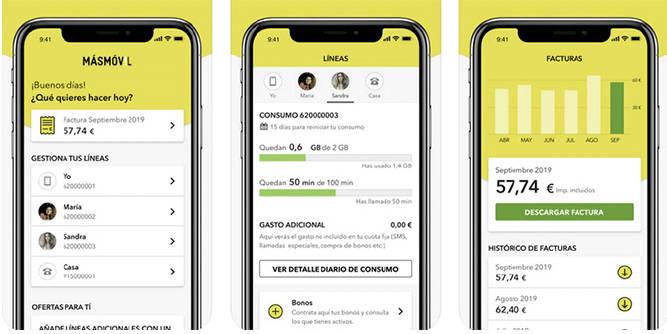 App MÁSMÓVIL Nuevo dashboard o barra inferior más visual