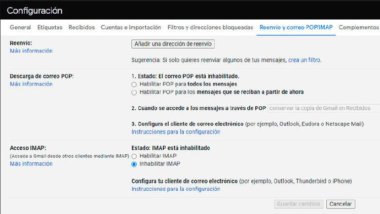 configuracion gmail reenvio