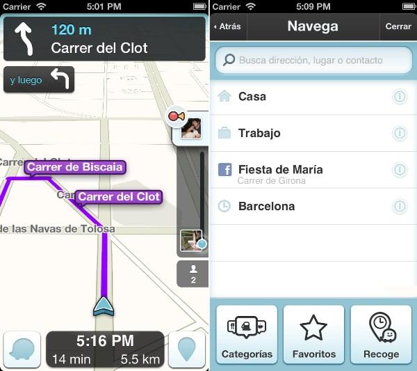 pantallazo de Waze en uso.
