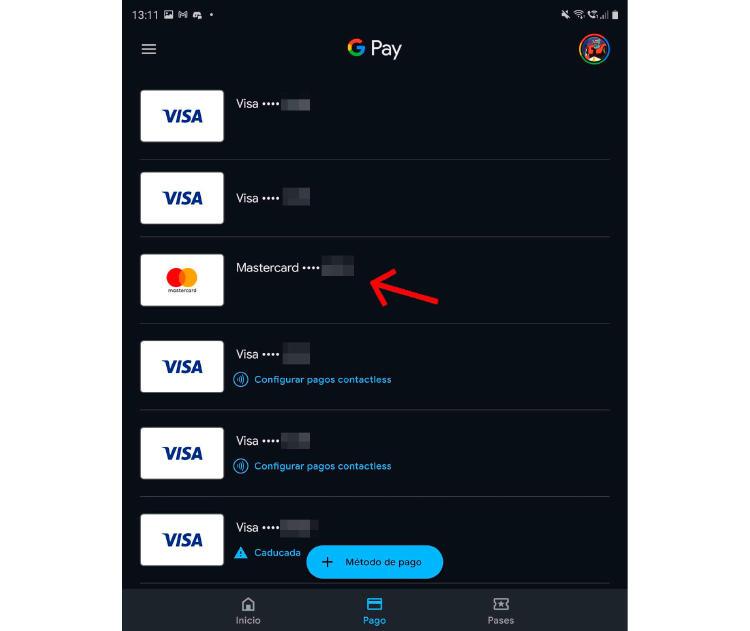 elegir tarjeta en google pay