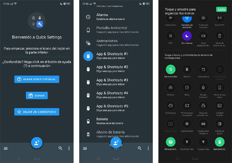 personalizar accesos rápidos android