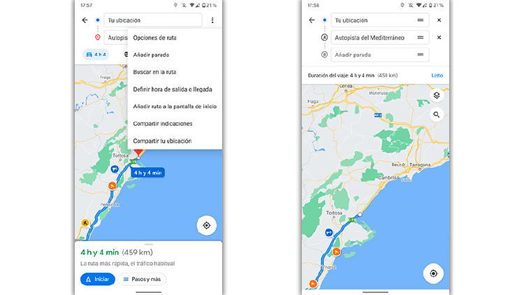 ruta sin peajes google maps