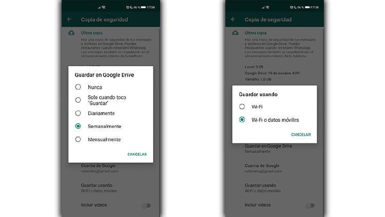 opciones copia seguridad WhatsApp