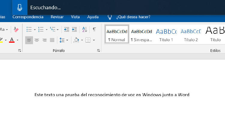 prueba dictar voz windows word