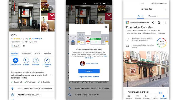 seguir bares o tiendas en Google Maps