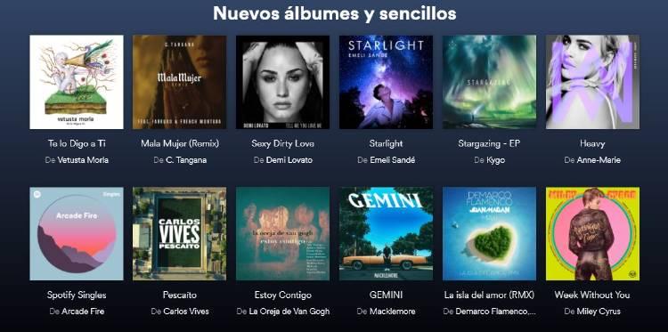Nuevos álbumes en Spotify