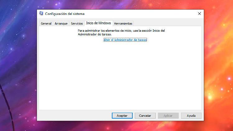 configuración del sistema windows