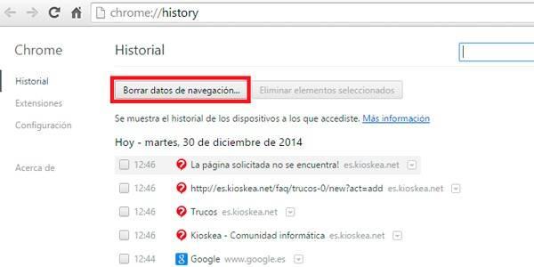 historial_chrome | ¿cómo borrar el historial de navegación?