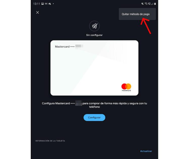 eliminar tarjeta google pay
