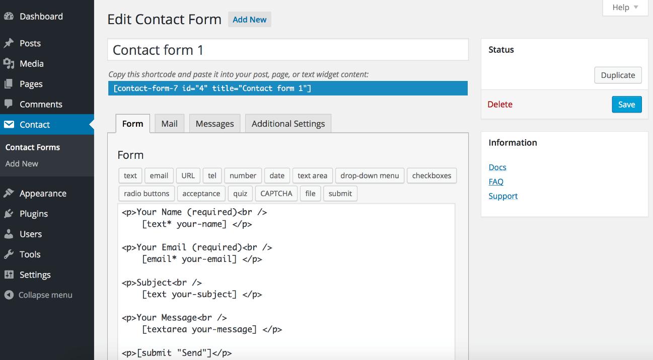 Pantallazo contact form 7