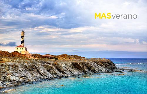 Faro de Cap de Favaritx en Mahón, Islas Baleares, España