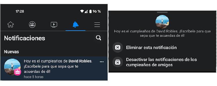 desactivar notificaciones cumpleaños