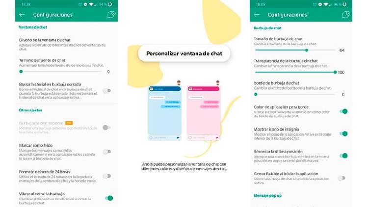 Cómo hablar por Whatshapp a través de burbujas de chat