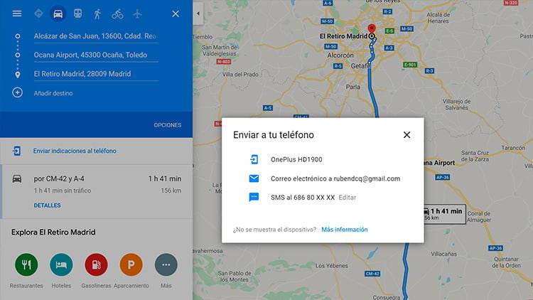 viaje google maps