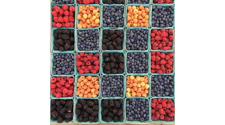 frutas amarillas, moradas y rojas