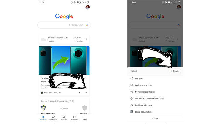 Seguir temas Google Discover