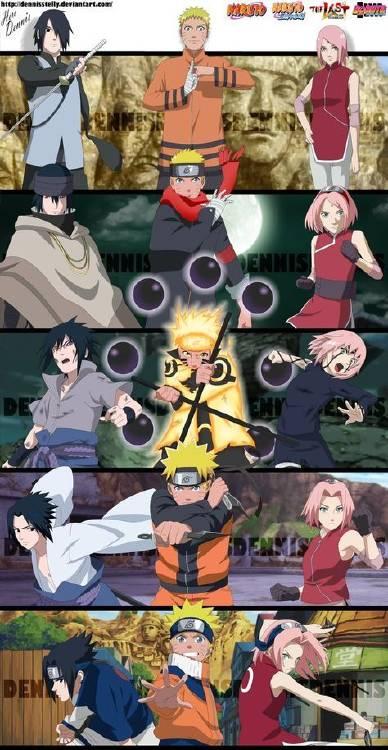 Evolución Naruto, Sasuke y Sakura