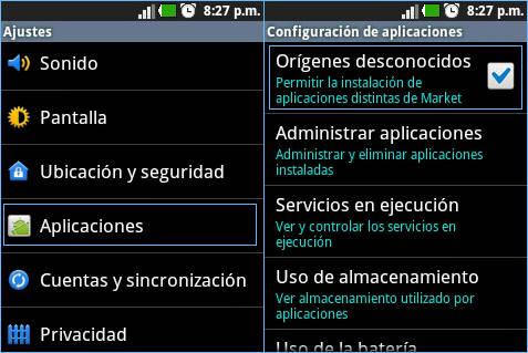 cómo instalar apps externas | origen desconocido