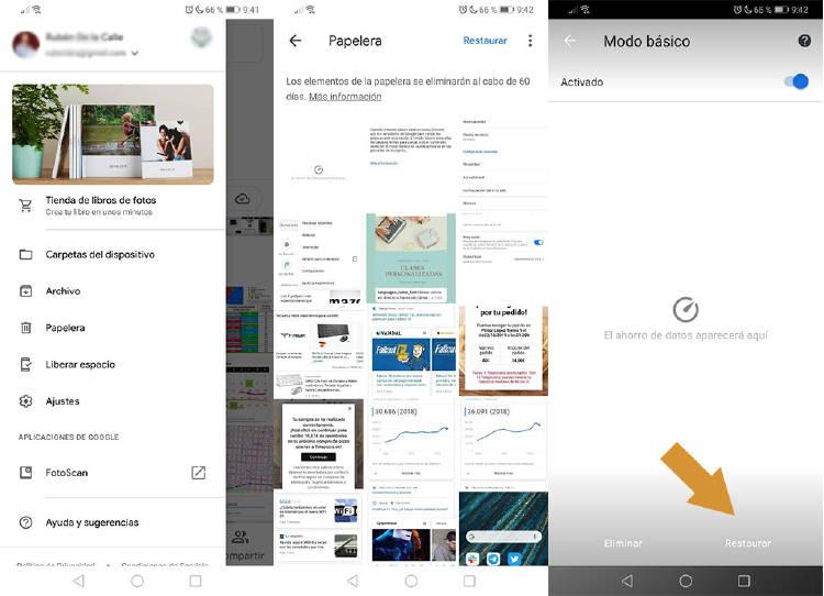Recuperar fotos borradas del móvil con Google fotos