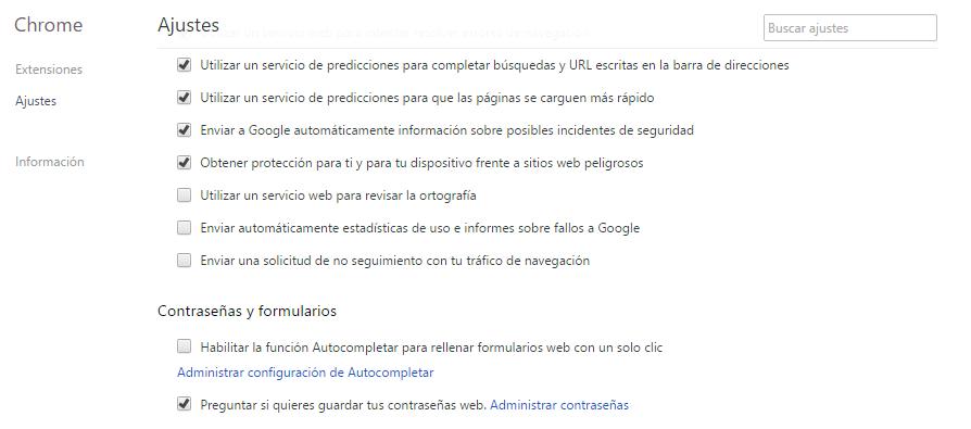 Ajustes de Chrome
