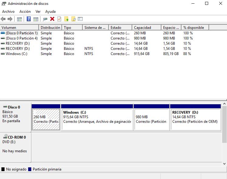 Partición disco duro Windows