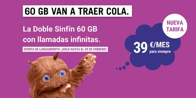 Doble Sinfín 60 GB con 2 líneas con 60 GB y llamadas infinitas, por solo 39 euros al mes para siempre